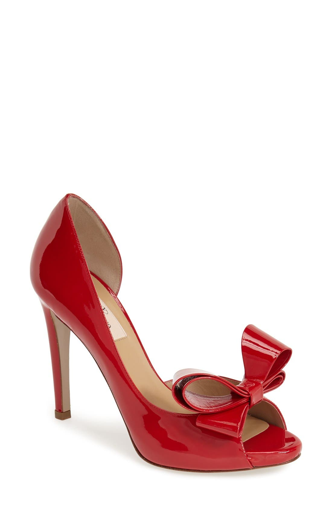 Couture Bow d'Orsay Pump,                         Main,                         color, Red Patent