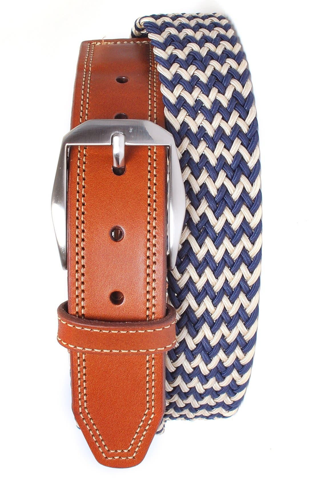 'Beck' Stretch Belt,                         Main,                         color, Navy/ Sand