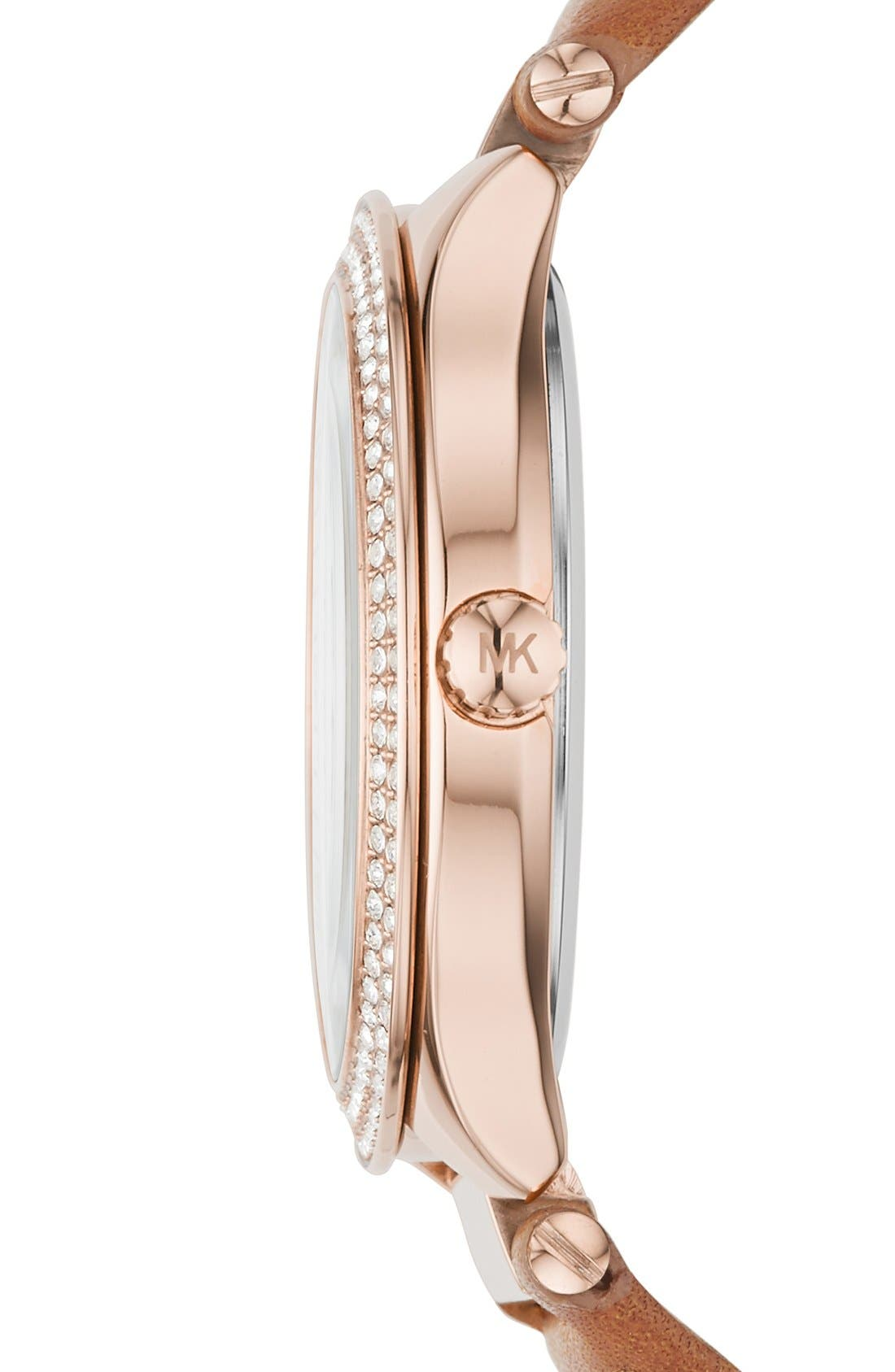 Alternate Image 2  - Michael Kors 'Kerry' Crystal Accent Leather Strap Watch, 38mm