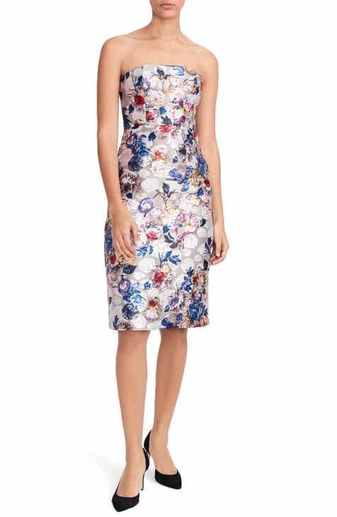 J Crew Collection Fl Jacquard Strapless Dress