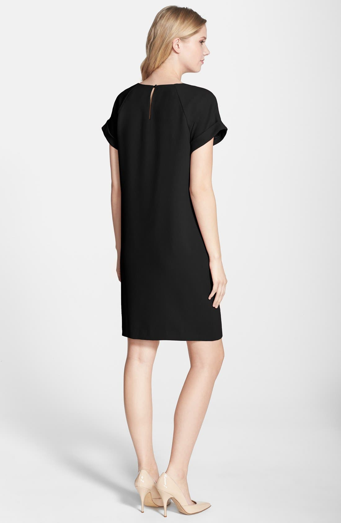 by Andrew Marc Crepe Short Sleeve Shift Dress,                             Alternate thumbnail 2, color,                             Black