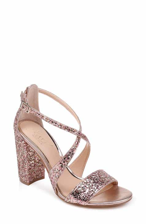 e66df6d655b Jewel Badgley Mischka Cook Block Heel Glitter Sandal (Women)