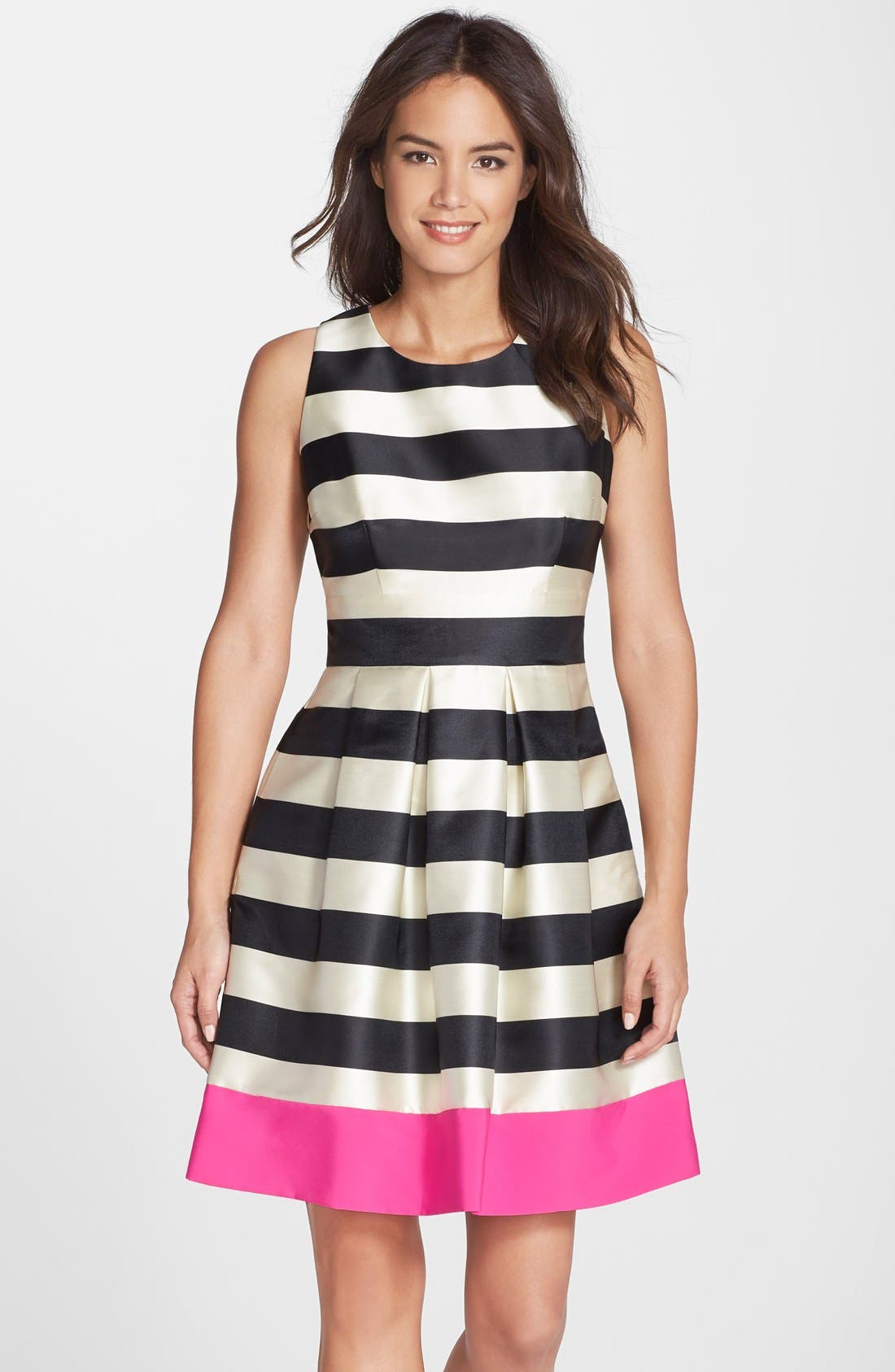 Main Image - Eliza J Stripe Crepe Fit & Flare Dress