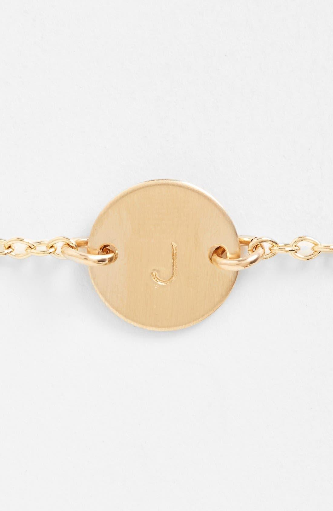 Initial Mini Disc Bracelet,                             Alternate thumbnail 2, color,                             14K Gold Fill J