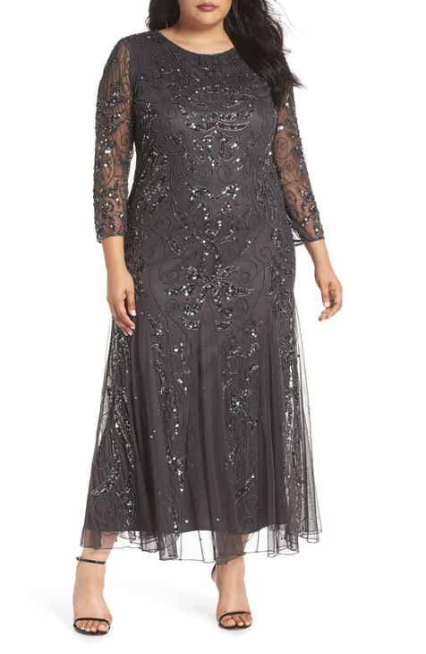 a082a9231e6 Pisarro Nights Embellished Three Quarter Sleeve Gown (Plus Size)