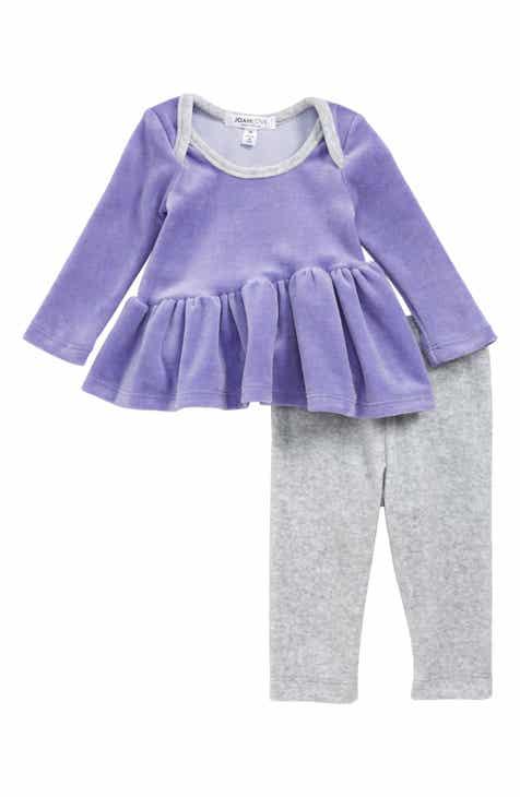 Joah Love Velour Peplum Sweatshirt & Leggings Set (Baby)
