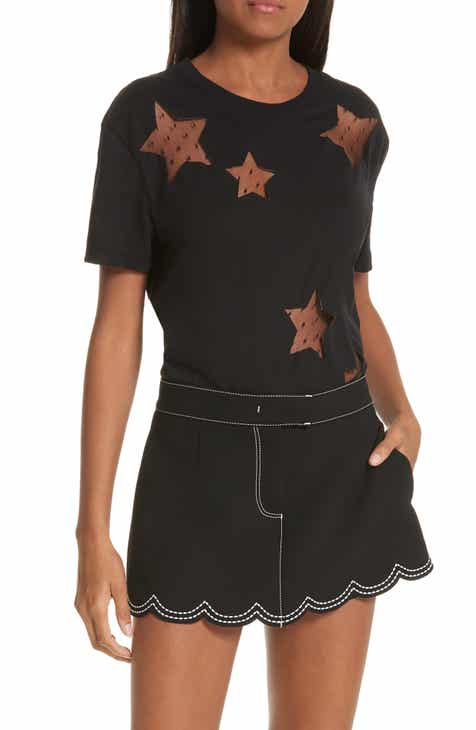 RED Valentino Point d'Esprit Star Cutout Tee