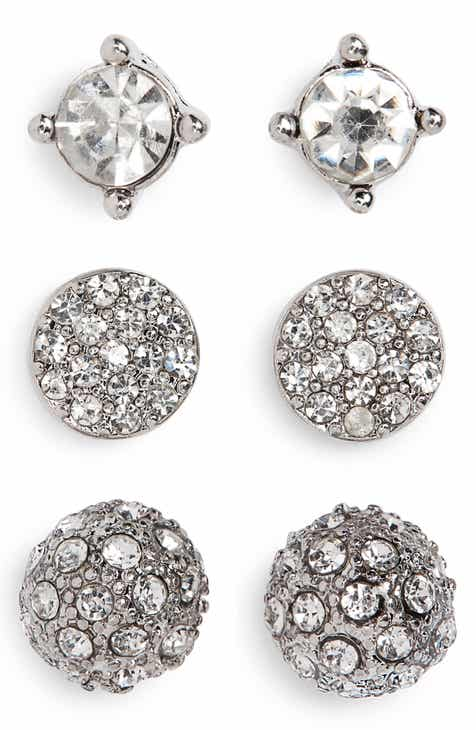 3 Pack Crystal Stud Earrings
