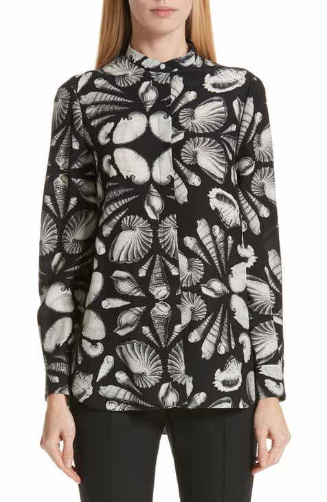 c1b96cadbf Alexander McQueen Cabinet of Shells Print Silk Blouse