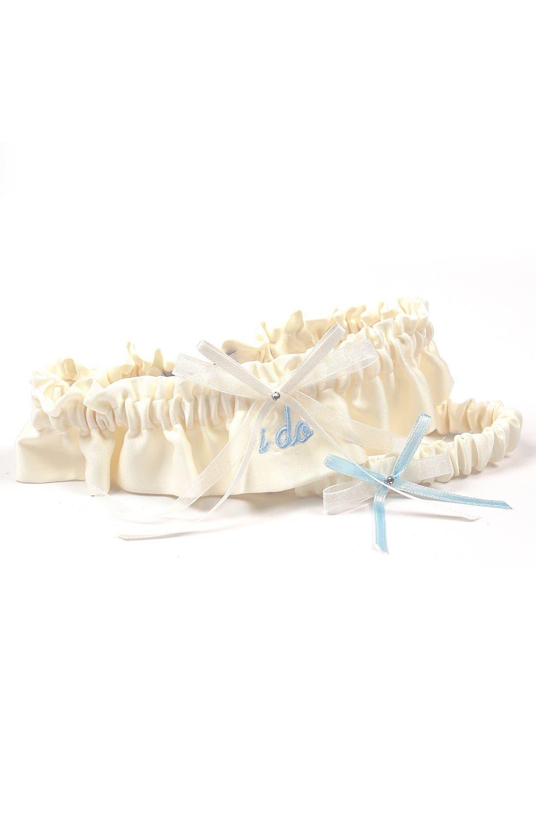 'I Do' Embroidered Garter,                         Main,                         color, Ivory