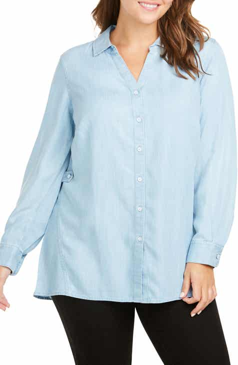 12549578f33 Foxcroft Split Collar Button Down Shirt (Plus Size)