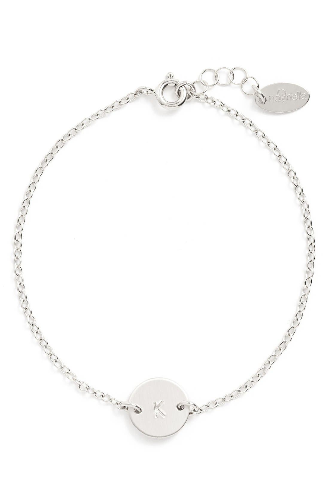Alternate Image 1 Selected - Nashelle Sterling Silver Mini Initial Disc Bracelet