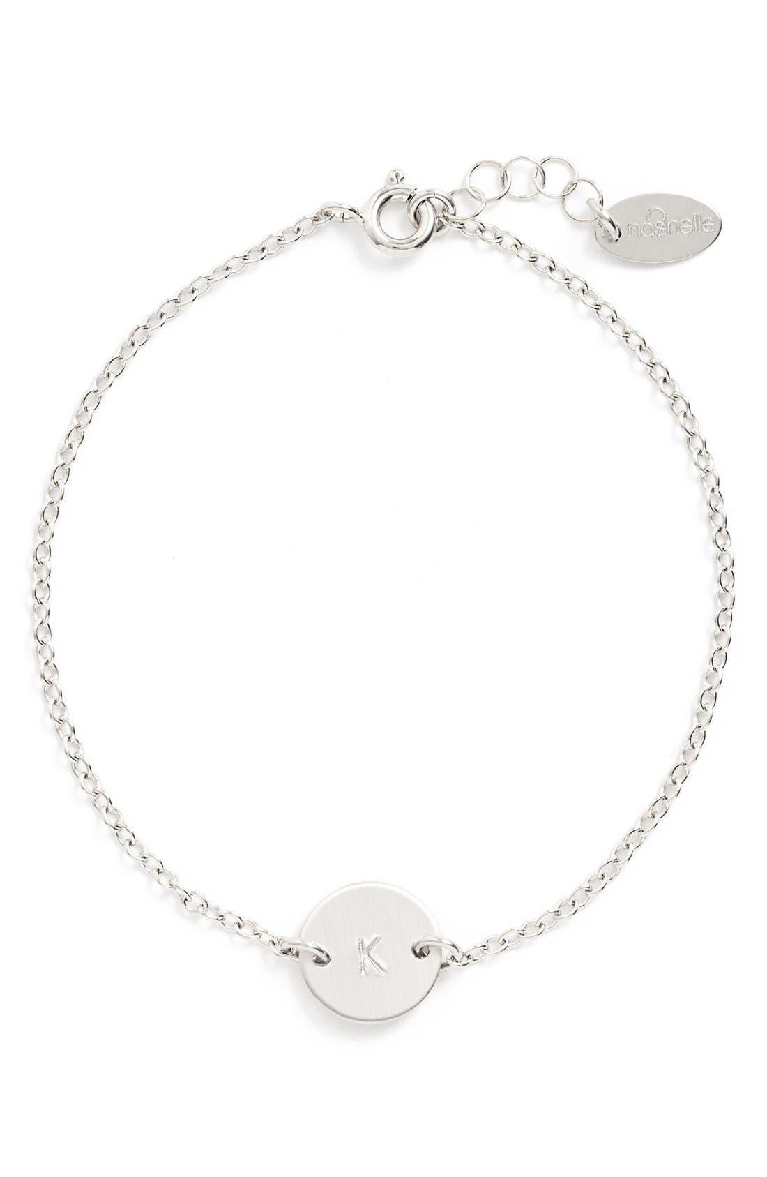 Main Image - Nashelle Sterling Silver Mini Initial Disc Bracelet