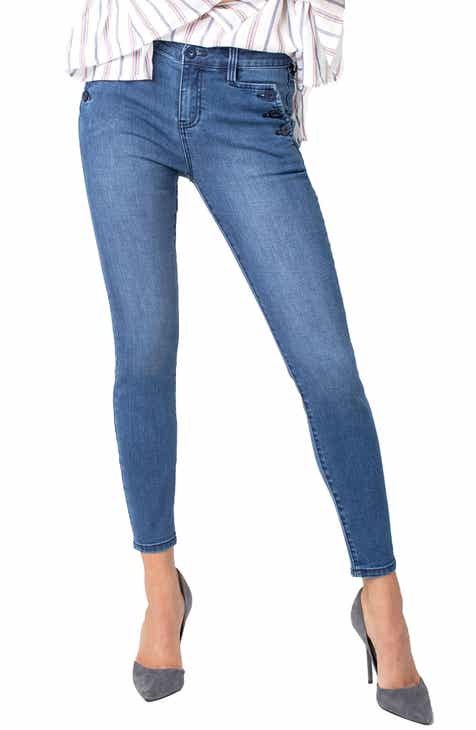 Mavi Jeans Alissa Side Stripe Ankle Skinny Jeans (Shiny Binded Smoke) by MAVI