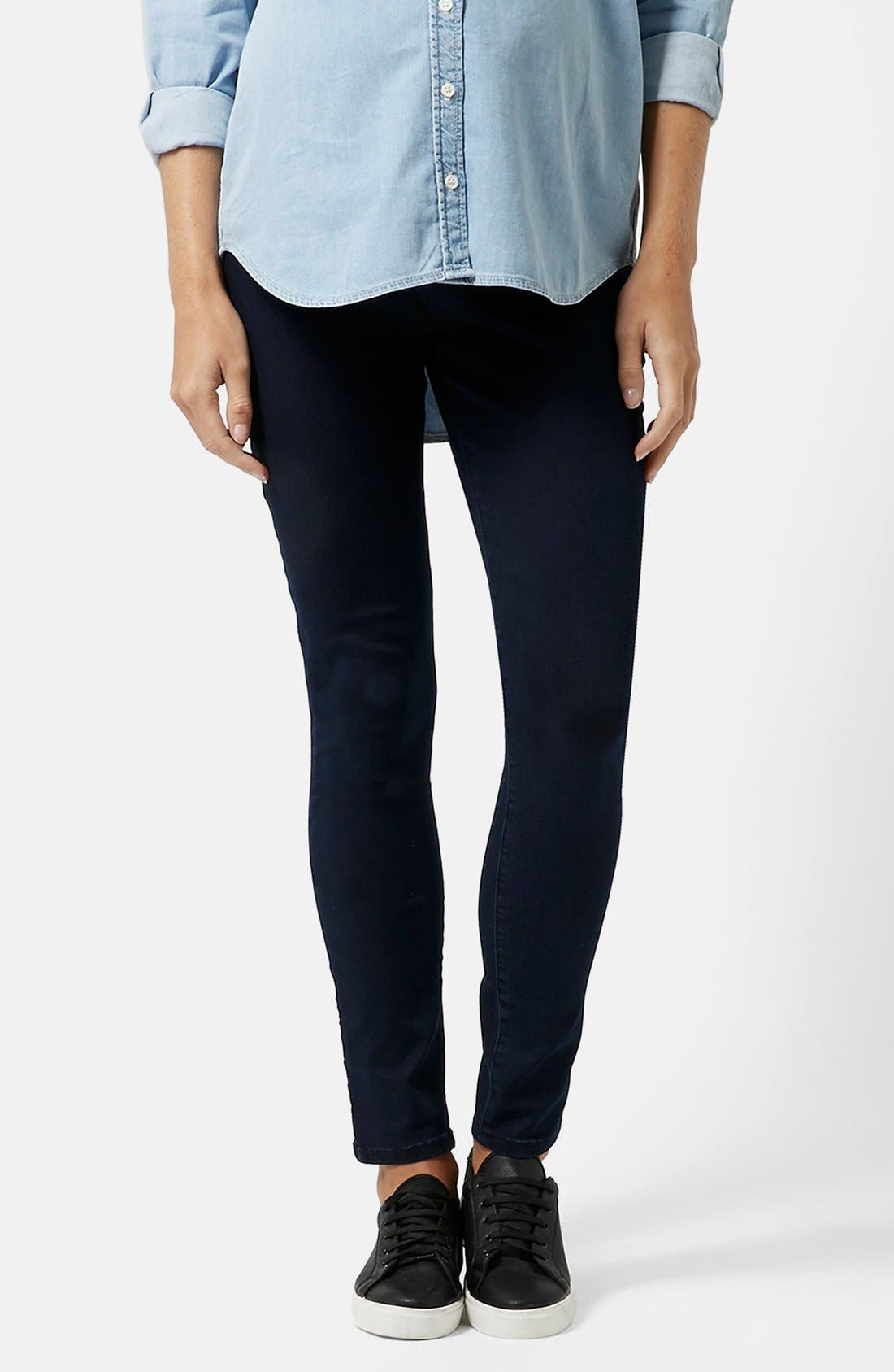Alternate Image 1 Selected - Topshop Moto 'Joni' Maternity Skinny Jeans (Navy) (Regular & Short)