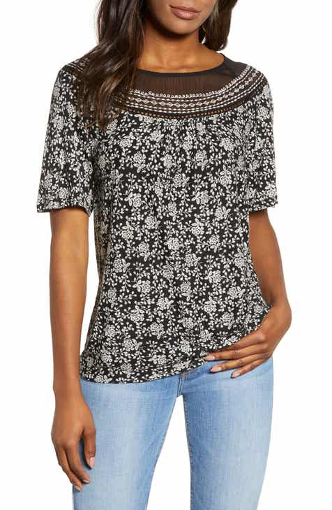 bf1b4deab7f Lucky Brand Embroidered Yoke T-Shirt