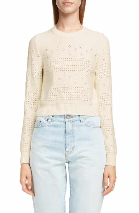 Saint Laurent Eyelet Detail Wool Blend Sweater 1cbcff80b