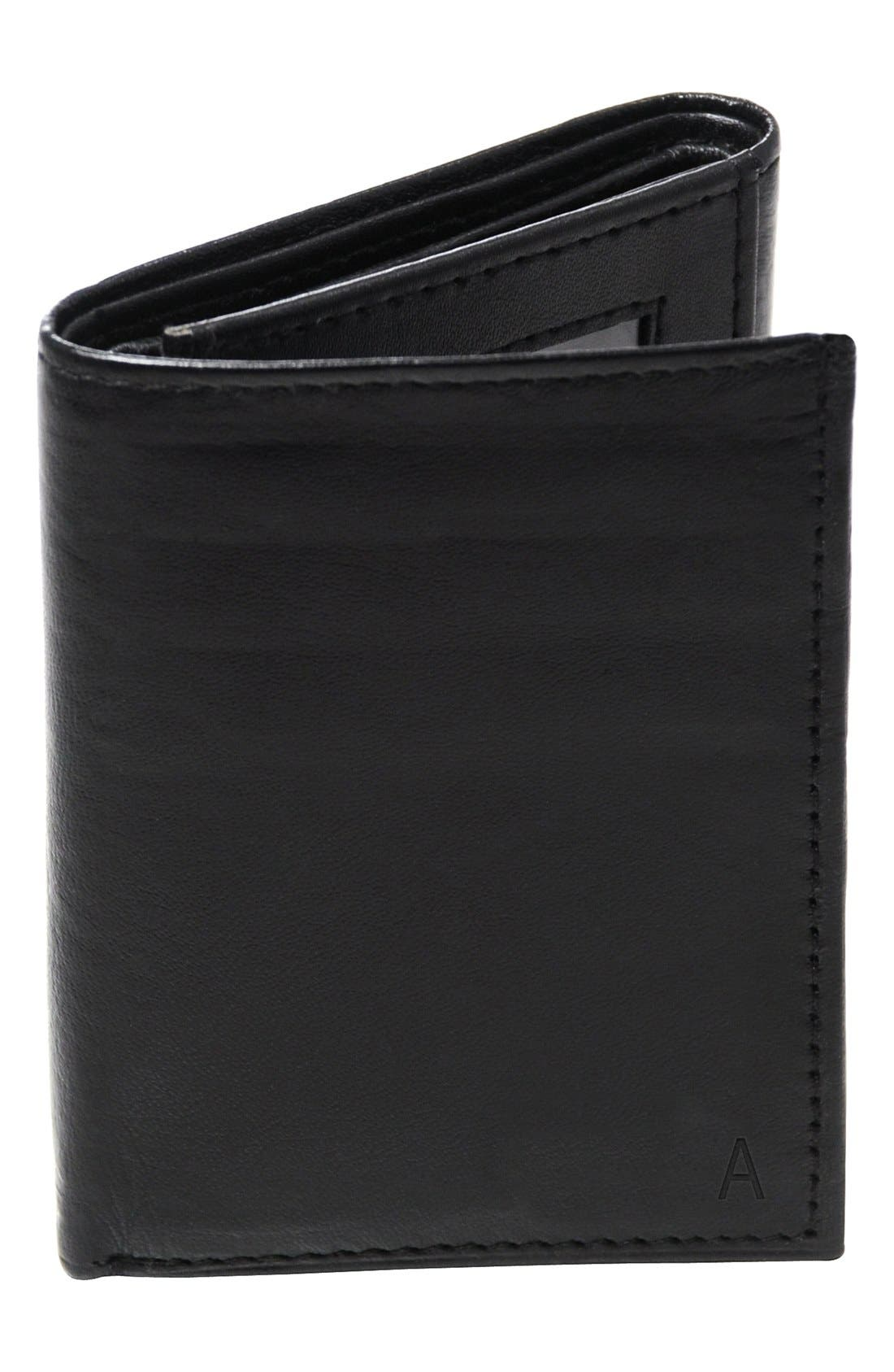 Cathy's Concepts 'Oxford' Monogram Leather Trifold Wallet