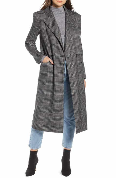 1db800b4a97 Something Navy Plaid Topper Coat (Nordstrom Exclusive)