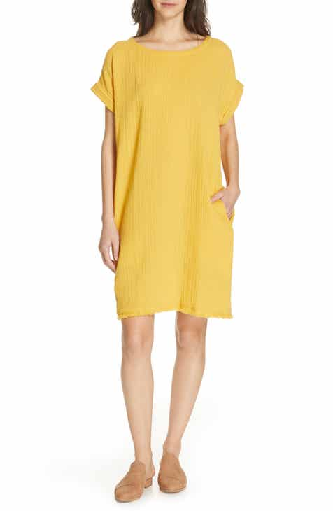 ce5c4ca1ee2966 Eileen Fisher Textured Organic Cotton Shirt Dress (Regular   Petite)