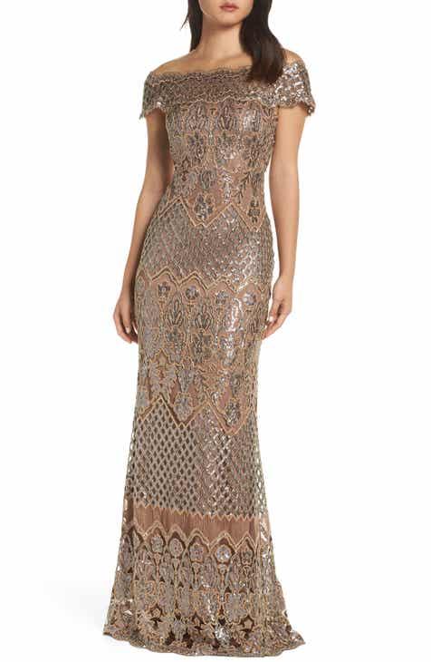 48b6d958d8f Tadashi Shoji Illusion Neck Sequin Lace Evening Dress