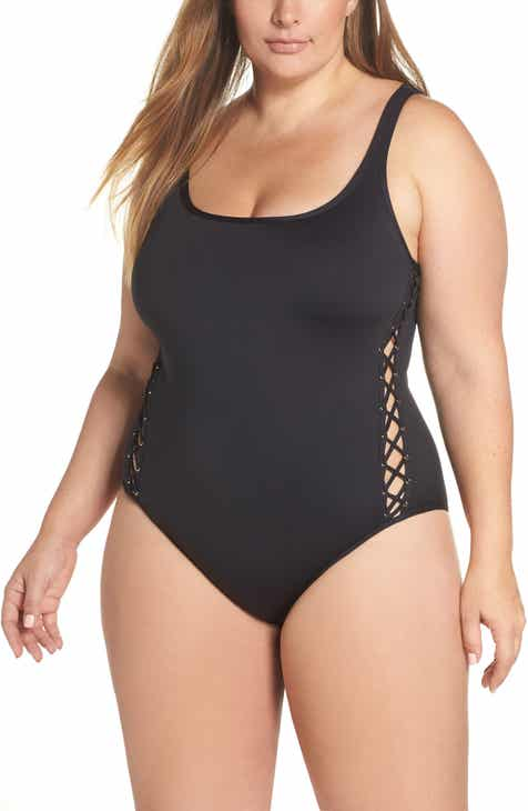 La Blanca Lace-Up Side One-Piece Swimsuit (Plus Size) by LA BLANCA