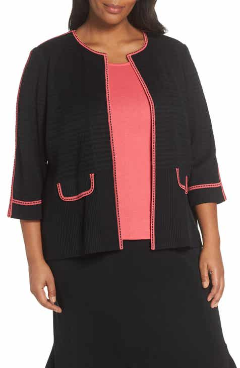 Ming Wang Contrast Trim Jacquard Knit Jacket (Plus Size) by Ming Wang