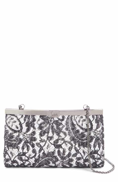 Louboutin Palmette Lace Overlay Frame Clutch