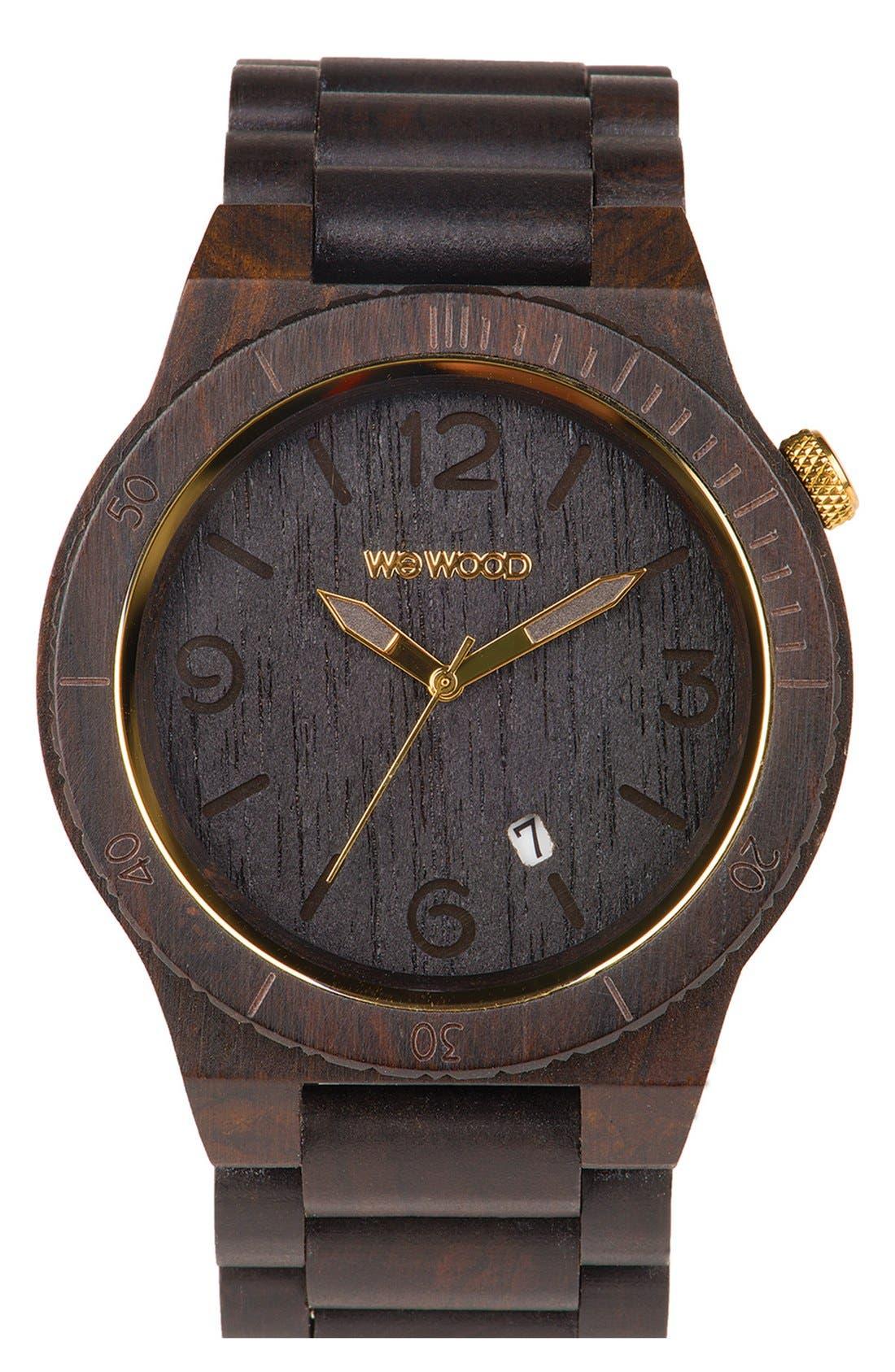 'Alpha' Wood Bracelet Watch, 46mm,                             Main thumbnail 1, color,                             Black/ Gold