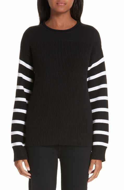 Victor Glemaud Stripe Sleeve Cotton Sweater by VICTOR GLEMAUD