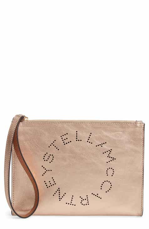 239bb749b28 Stella McCartney Metallic Faux Nappa Leather Wristlet Clutch