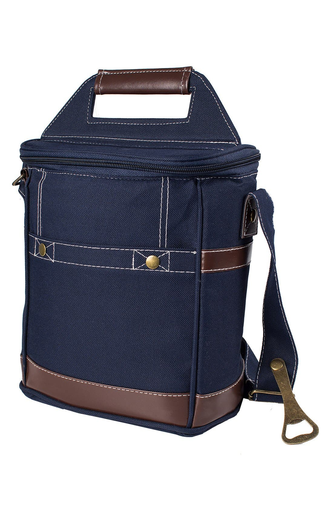 Monogram Six-Bottle Beer Cooler,                             Main thumbnail 1, color,                             Navy - Blank