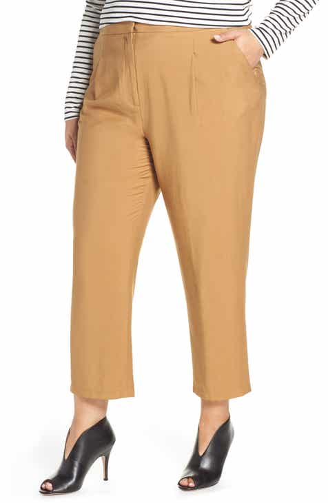 Leith Pleated Straight Leg Pants (Plus Size) by LEITH