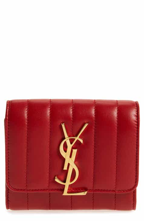 d73244996a656 Saint Laurent Vicky Lambskin Leather Trifold Wallet