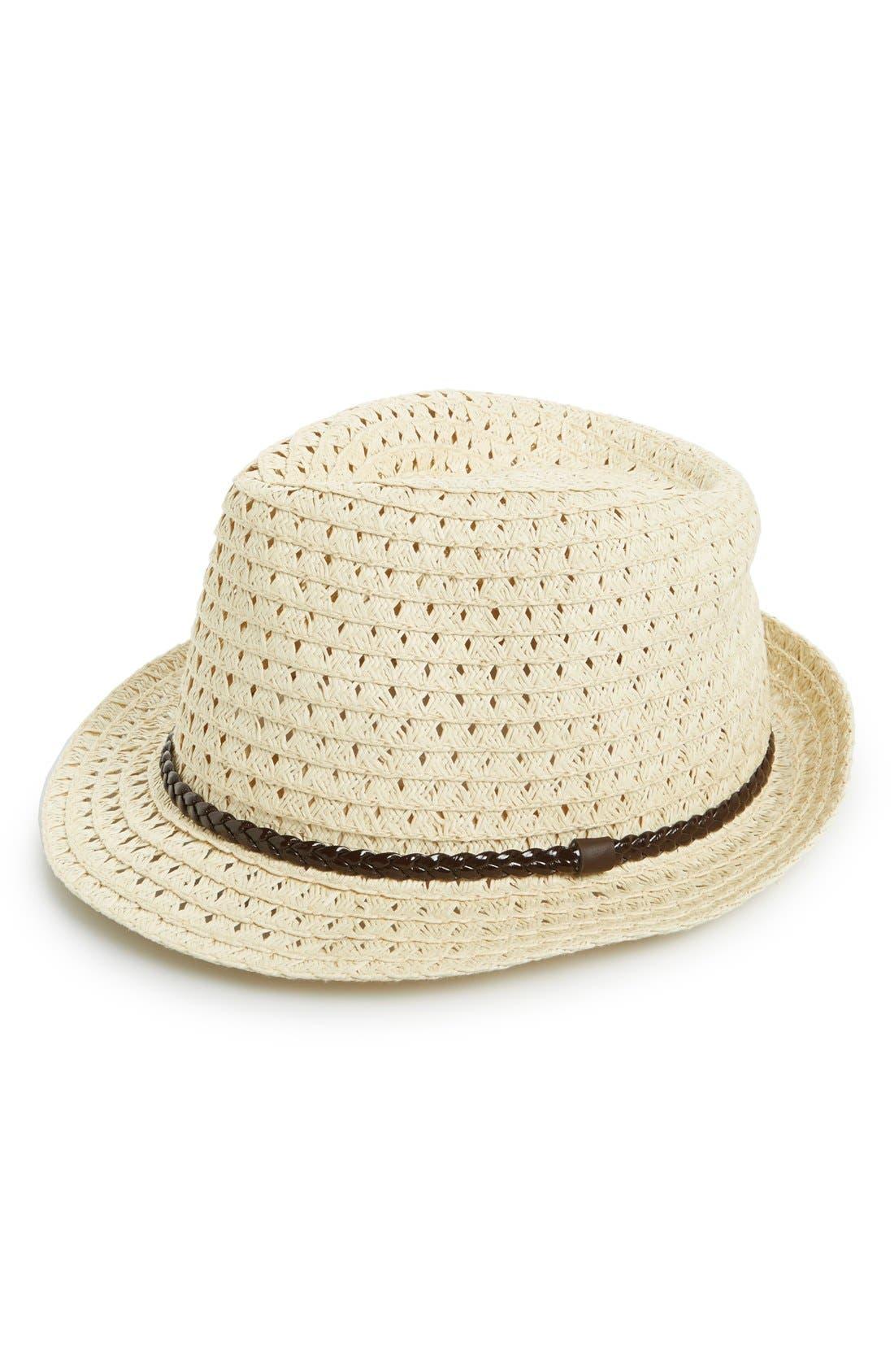 Main Image - BP. Open Weave Straw Fedora