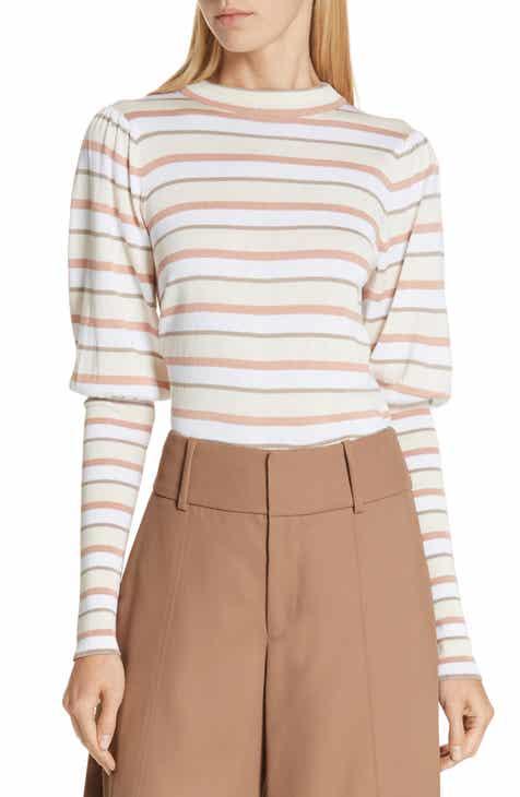 2a4695eab7 See by Chloé Stripe Puff Sleeve Sweater