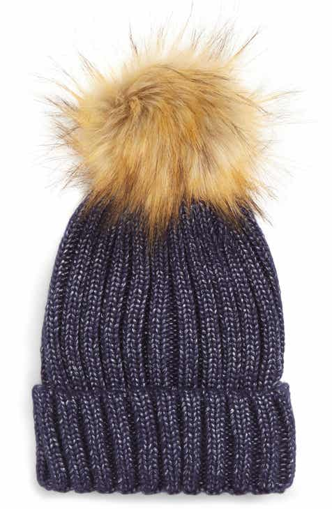 Sole Society Faux Fur Pom Knit Beanie aaaca970e