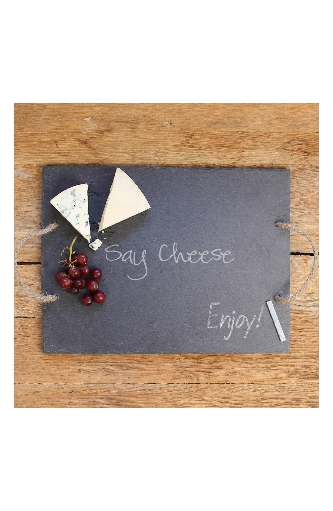 'Say Cheese' Slate Serving Board,                             Main thumbnail 1, color,                             Grey