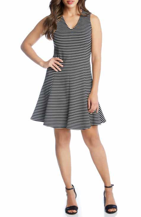 Karen Kane Stripe Fit & Flare Dress