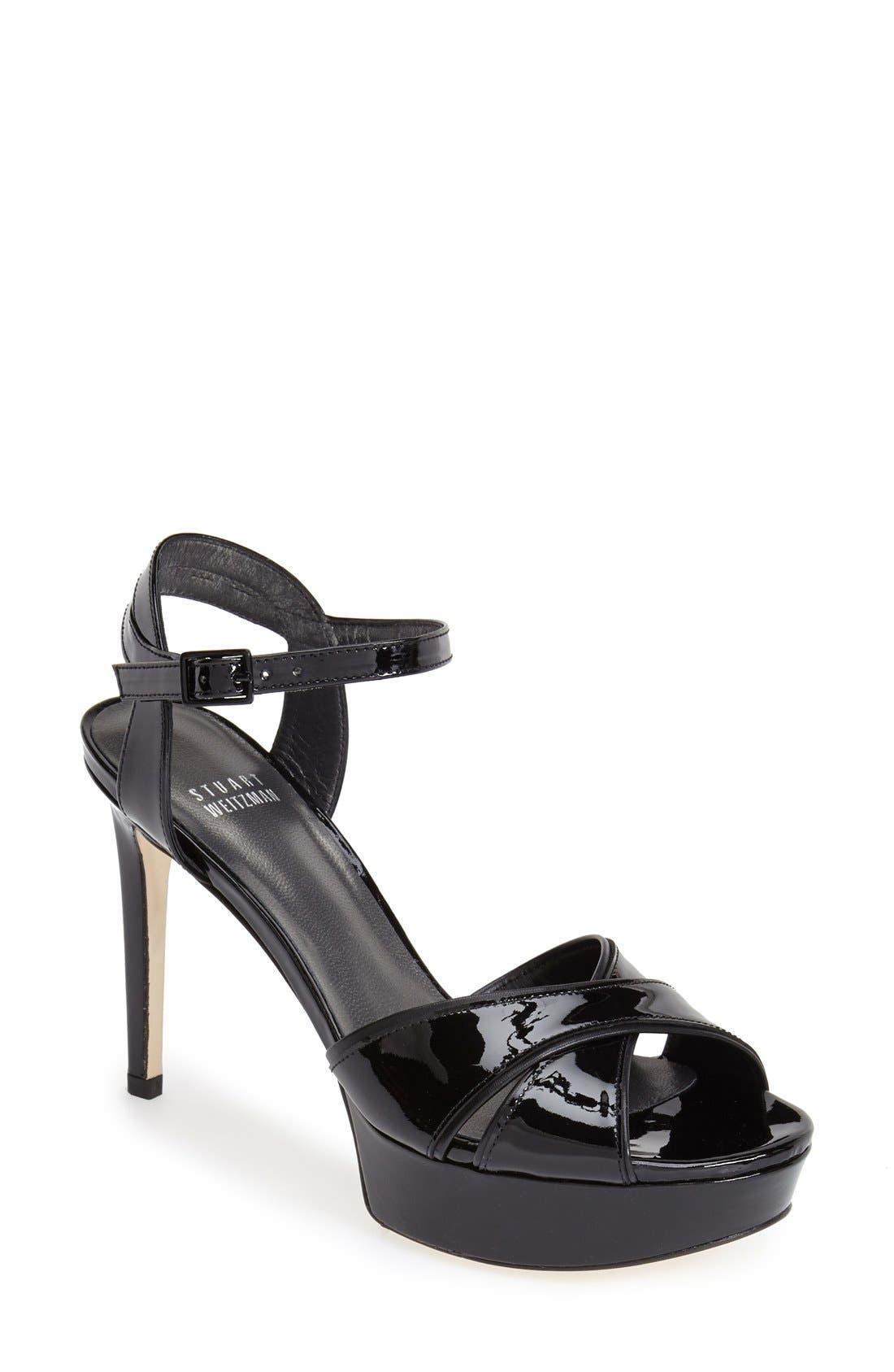 'Nexus' Platform Sandal, Main, color, Black Patent