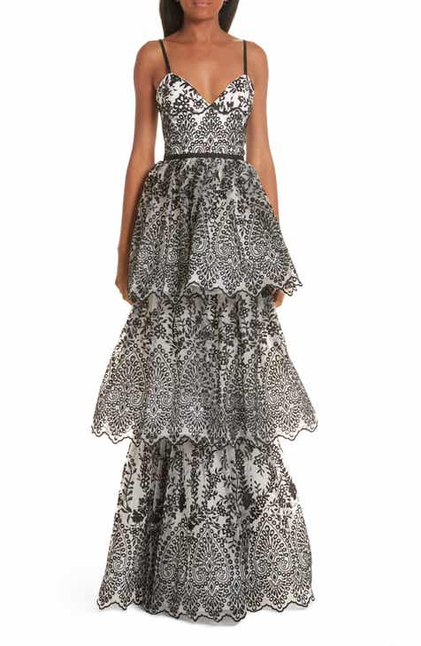 Marchesa Notte Tiered Eyelet Evening Dress by MARCHESA NOTTE