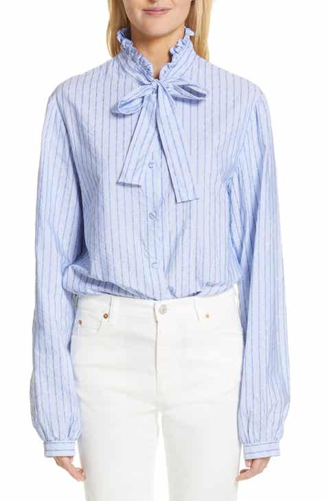 Gucci Logo Stripe Tie Neck Blouse