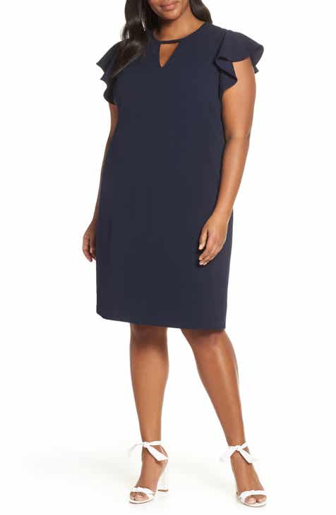 2184da5709f Vince Camuto Flutter Sleeve Ponte Sheath Dress (Plus Size).  134.00.  Product Image. CLASSIC NAVY