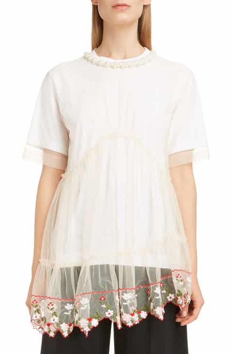 0cfe8ccf Simone Rocha Imitation Pearl Embellished Layered Tulle Tee