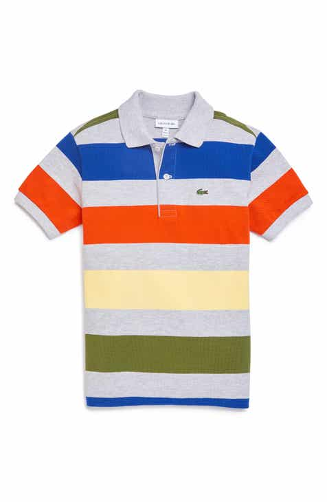 6f2e2c83f7cf55 Lacoste Stripe Cotton Piqué Polo (Big Boys)