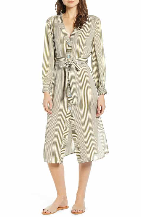 bc08ee49e0 MOON RIVER Stripe Belted Midi Shirtdress