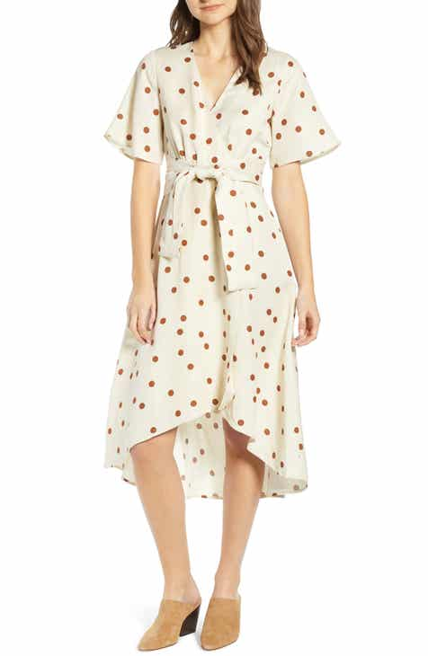 afc5e588ee MOON RIVER Polka Dot Linen Blend Midi Wrap Dress