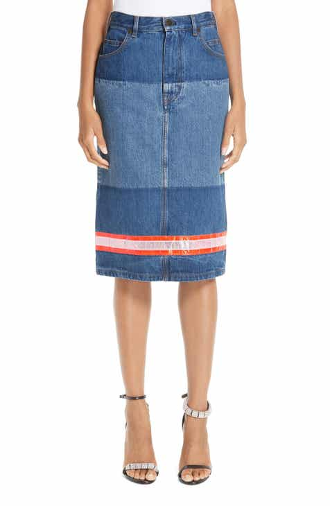 CALVIN KLEIN 205W39NYC Reflective Stripe Mixed Wash Denim Skirt by CALVIN KLEIN 205W39NYC
