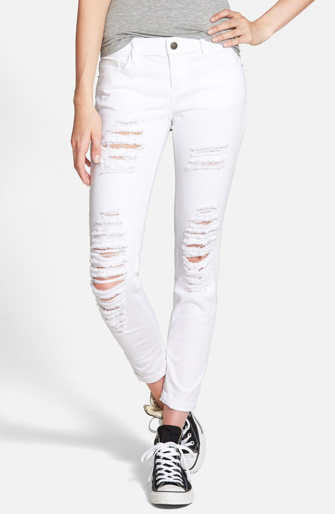 Alternate Image 1 Selected - SP Black Distressed Skinny Jeans (White)