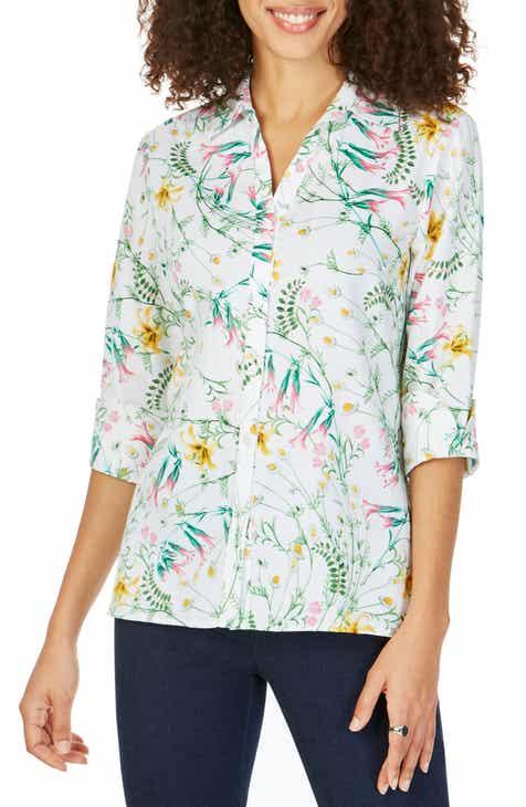 cbd96212 Foxcroft Maria Winding Botanical Cotton Shirt